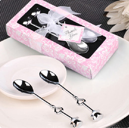 Wholesale Coffee Party Favors - Wedding Favors Newup 1 Pair LOVE Drink Tea Coffee Spoon Bridal Shower Wedding Party Favor Gifts Box Stainless Steel Dinner Tableware Set