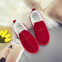 Wholesale Simple Ladies Flat Shoes - Winter Ladies flats boots Simple Embroidery Shoes on warm fur Comfortable cotton Footwear female cotton shoes women. XDX-055