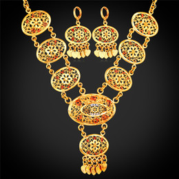 Wholesale Dubai Jewelry Sets - U7 African Dubai Gold Plated Jewelry Sets With 18K Stamp For Women Wedding Accessories Tassels Long Earrings Charms Necklace Set For Women