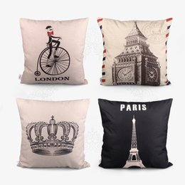 Wholesale Black Couch Throw Pillow - Wholesale-Hot Sale 42x42cm Charcoal Drawing Pillow Cases Cotton Linen Cushion Case For Couch Throw Arts