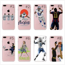 Wholesale Soccer Phone Covers - Sport Football Soccer Star Messi Case For iphone 6 6S 7 7Plus 8 8Plus X transparent soft Silicone Mobile phone shell cover