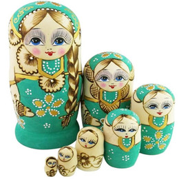 Wholesale Handmade Collectible Dolls - 7-Nesting Cute Wooden Nesting Dolls Matryoshka Adorable Handmade Craft Toy For Christmas Kids Mother's Day Gifts