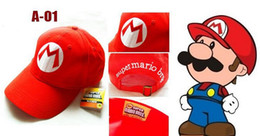 Wholesale Mario Accessories Wholesale - Super Mario Bro Anime Mario Cap Cosplay New Best Gift super mario hat 100%cotton Free Shipping 10pcs
