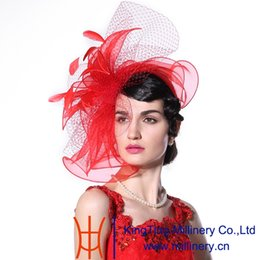 Wholesale African Feather Hat - Free Shipping Junesyoung 2015 Fashion Women Fascinator Hats Hot Red Color Feather Hair Accessories Wedding Wear Elegant Lady Bride Hot Sale