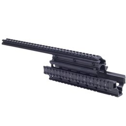 Wholesale Cover For Quad - Wholesale-OEM UTG Type Saiga 12 Ga Quad Rail See-thru Scope Mount weaver forend For AK47 74 With Rubber Covers shotgun Picatinny
