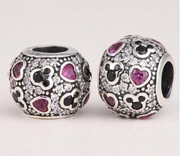 Wholesale Pandora Ale Authentic - Wholesale - Pandora bracelets charm authentic 925 ALE Sterling Silver abstract sparkling mickey hearts charms Bead for women fashion jewelle