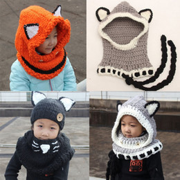 Sciarpa del cappello di volpe dei bambini online-Baby Boys Girls Kids Fox Hat Sciarpa Bambini Scaldacollo Wrap Beanie Crochet Collar Cartoon Antivento Fox Cappelli