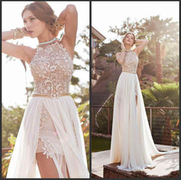 Wholesale Illusion Back Prom Dresses - 2016 Vintage Beach Prom Dresses High Neck Beaded Crystals Lace Applique Floor Length Side Slit Evening Gowns BO5557