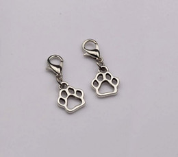 Wholesale Wholesale Paw Clasp - Hot Sell ! Antique Silver Hollow Paw Print Dangle Bead with Lobster clasp Fit Charm Bracelet 11 x 27 mm (402)