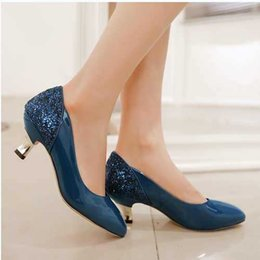 Wholesale Pointed Low Heels - New Fashion Pointed Toe High Quality Spike Low Heels Dress Shoes For Women Sexy Casual Black Blue White Color Platform Pumps