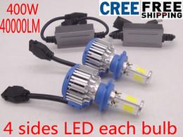 Wholesale h7 led xenon - LED 400W 40000LM H7 Car Headlight Kit Auto Front Light Fog Bulb White 6000K LED Headlamp H1 H11 9005 9007 Replace Xenon Kit