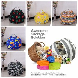 Wholesale Large Stuffed Animal Toys - 22 Colors 18 inches Storage Bean Bags Kids Bedroom Stuffed Animal Dolls bag Plush Toys Large Capacity Spherical Totes CCA8330 20pcs