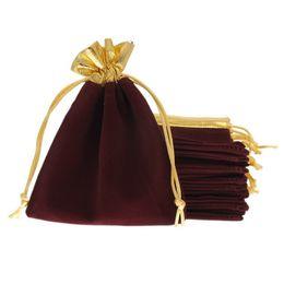 Wholesale Red Velveteen - Wholesale 25Pcs 12x15cm Velveteen Purplish Red Velvet Gold Trim Drawstring Jewelry Gift String Christmas Wedding Bags Pouches