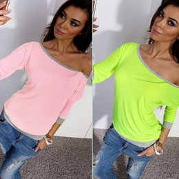 Wholesale Fluorescent Panel - Wholesale 2018 new women's clothes, seven cents sleeves, candy color, fluorescent color T-shirts and blouses