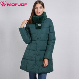 Wholesale Elegant Winter Coats For Women - Wholesale-Winter Women jacket with flared Side pockets with a zipper Artificial rabbit Fur Stand Collar elegant Slim waist coat for women