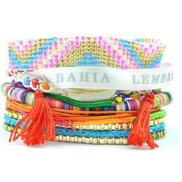Mexikanischen charme armbänder online-Neue Frauen Mädchen Böhmischen Shell Mexikanischen Perlen Armbänder Geflochtene Multi Layer Strand Charme Quaste Kette Armbänder