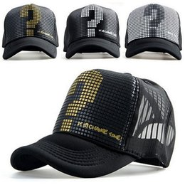 Wholesale Mark Girls - New Arrival Adult Casual Adjustable Polyester Fashion Unisex Men Women Boys Girl Trucker Classic Question Mark Baseball Cap Hat