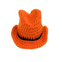 Chapéus de vaqueiro alaranjados on-line-Super Cool Laranja Baby Cowboy Hat, Feito À Mão de Malha Crochet Baby Boy Menina Pete Texas Longhorns Hat, Chuveiro Presente, Infantil Newborn Fotografia Prop