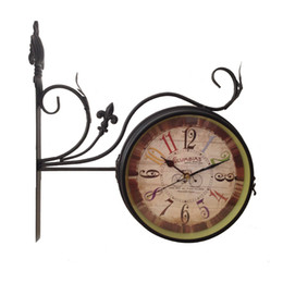 Wholesale Two Sided Clocks - Black Two-sided wall clocks special wall clocks modern hanging clock home clocks metal watch 1pc lot