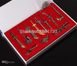 Wholesale League Legends Necklace - Wholesale-League Of Legends LOL 11 Pcs A Set Characters Weapons Metal Pendant Necklace Key Keychain Collection In Box