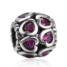 Wholesale Love Deeper - Wholesale New Fashion Deep Red Crystal Charm 925 Sterling Silver European Charms Bead Fit Pandora Snake Chain Bracelets DIY Jewelry