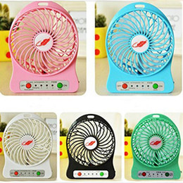 Wholesale Led Desktop Light Wholesale - Portable Rechargeable USB Fan 3 Gear Speed Desk Mini Air Cooling Cooler Desktop Fan with 18650 Battery and LED light For Trave Camping