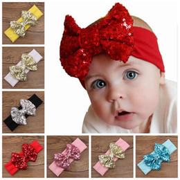 Wholesale Big Sequin Bow Headbands - baby big sequins bow headbands for girls kids Christmas hair bows babies elastic headbands head wrap hair accessories hairbands wholesale