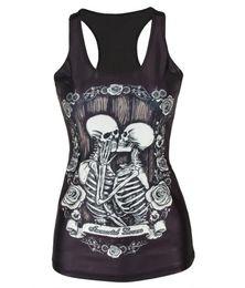 Cráneos de la ropa de las mujeres online-V-46 primavera nueva 2015 mujeres camiseta Kiss skull negro Chaleco tops Sexy ropa de mujer
