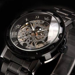 Wholesale Mechanical Chronograph Skeleton Watch - Military Army Transparent Steampunk Wrist watch Skeleton Mechanical Man Stainless Steel Watch