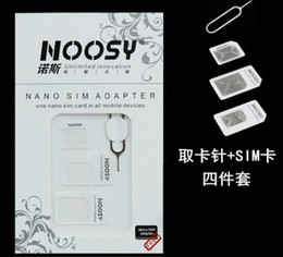 Wholesale Iphone5 Adapters - 4 in 1 Nano Micro Sim Card Adapter Noosy SIM Adapter for iPhone5 5S 4S with Retail Package 500Set