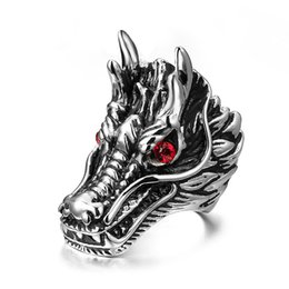 Wholesale Red Dragon Jewelry - 2015 Newest Strong Gothic Biker Stainless Steel Men's dragon head Red Shining Crystal Eyes Ring Jewelry Fine Gifts for Husband