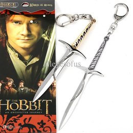 Wholesale Silver Sword Ring - Wholesale-Movie The Hobbit 2 Sword Metal Keychains Pendant Key Chain Key Ring ANPD1979