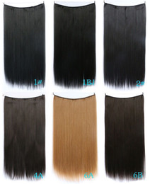 Wholesale weave extension synthetic - Free shipping Flip in hair hidden wire hair weave extension invisable straight halo hair no clips no glue comfortalble and easy wear