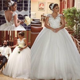 Wholesale Tulle Puff Skirt - Romantic 3D Floral Lace Appliques V Neck 2016 Plus Size Ball Gown Wedding Dresses Cap Sleeves Backless Floor Length Puff Bridal Gown