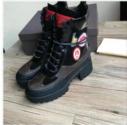 Wholesale Platform Ankle - Real leather Combat Derset Boots Feminino High Platform Women Boot 2018 Fall