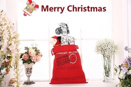 Wholesale Christmas Ornaments Personalize - 6 style Christmas Gift Bag Wholesale Monogrammable Santa Claus Drawstring Bag Personalized Delivery Gifts Santa Sack bag 1050