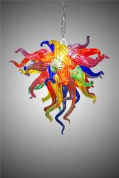 Glas blumen kronleuchter online-Kleine Multicolor Blume Kunst Glas Lampe Shop Decor LED Lichtquelle 100% mundgeblasenem Glas lange Kette Kronleuchter Leuchte