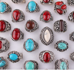 Wholesale Turquoise Ring Man Silver - Man gemstone turquoise ring vintage unisex sliver plated black blue red colors mixed styles free shipping