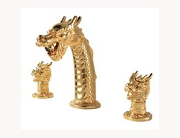 Wholesale Antique Brass Widespread Faucet - Cloud Power Antique Gold Bathroom Sink Faucets with Brass , Chinese Dragon Taps Mixer Set With Dual Holder Three-hole