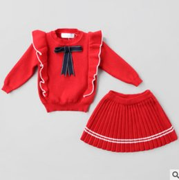Wholesale Little Girl Cute Outfits - Christmas children outfits Little girls falbala Bows long sleeve knitting sweater+stripe pleated skirt 2pcs sets kids princess suits R1209