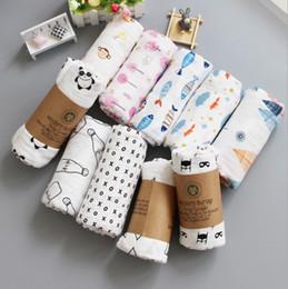 Wholesale Muslin Wraps - 32 Designs Newborn Muslin swaddle Blanket 100% Organic cotton Black white Soft Wraps Bedding Bath Towels Double layer 120*120cm Parisarc