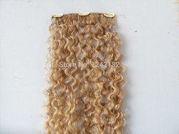 Wholesale Cheap Real Remy Hair Extensions - Cheap Malaysian Virgin Hair Curly Clip In Hair Extensions 7Pcs set Remy Blonde Human Hair Extensions Real Human Natural Hair
