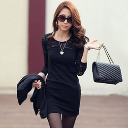Wholesale Best Clothing Style - Best Sales New Women Bodycon Dresses 3 4 Sleeve O-neck Lace Panelled Casual Fashion Spring Clothing Star Style Black White S-XL