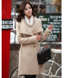 Wholesale Double Breasted Lady S Coat - European&USA Star Style Women Coat Fashion Double Breasted Wool Coat Casual Female Jacket Slim Lady Trench Coat 3 color 4 yards 02