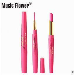 Deutschland Wholesale-12pcs / lot 2016 Qualitätsmusik-Blumenmatte glatter Lippenstift und Rouge roter Lipliner-Stiftmake-upsatz Versorgung