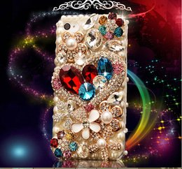 Wholesale Galaxy S4 Diamond Cases - Luxury Handmade Rhinestone & Diamond Crysta Heart Case for samsung galaxy G9200 S6 S5 S4 note7 S6edge G9250 note 2 note 3 note4