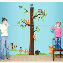 Wholesale Children Height Measurement Sticker - squirrel tree wall stickers for children kids room DIY removable measurement of height PVC wall decal