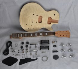 Wholesale Solid Rosewood Electric Guitar - DIY Electric Guitar Kit With Mahogany Body Flamed Maple Top Rosewood Fingerboard