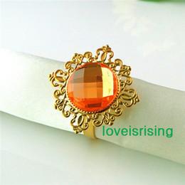 Wholesale Wedding Napkin Rings Orange - Lowest Price--50pcs Orange Gold Plated Vintage Style Napkin Rings Wedding Bridal Shower Napkin holder-- Free Shipping