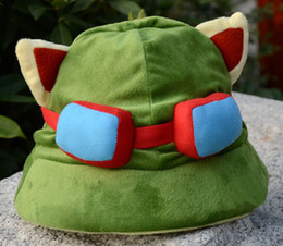 Wholesale Hat Lol - Retail League of Legends cosplay cap Hat Teemo hat Plush+ Cotton LOL plush toys children's Hats